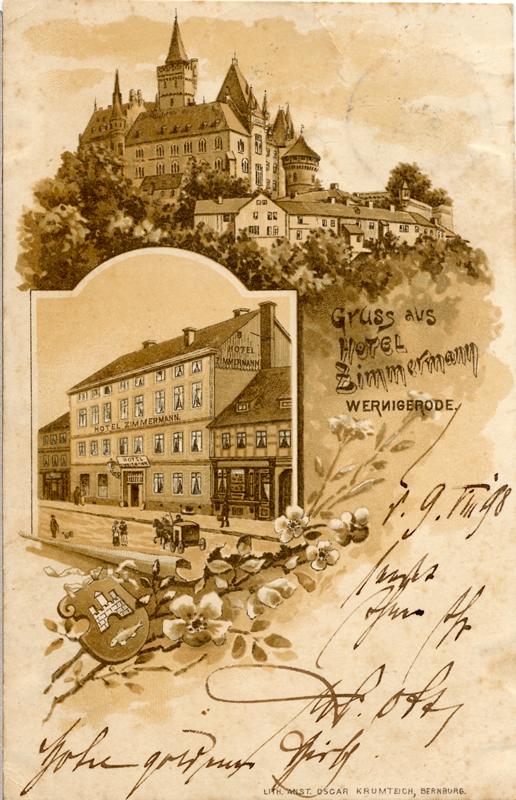"""Ansichtskarte """"Grüße aus Hotel Zimmermann"""", 1898"""