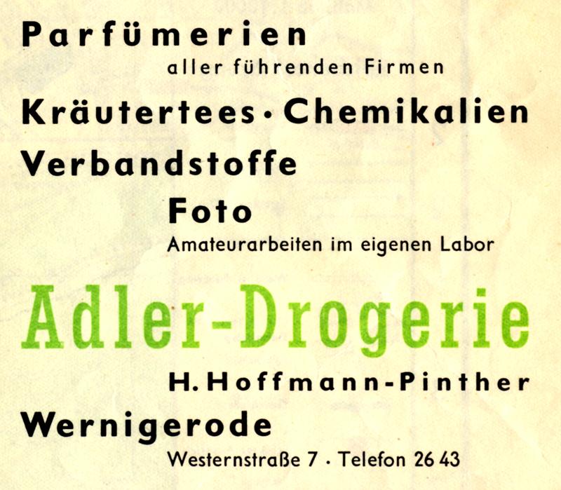 Anzeige Adler Drogerie H. Hoffmann-Pinther, 1962