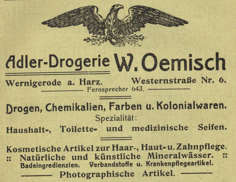 Anzeige Adler Drogerie W. Oemisch, Westernstraße 6, 1909