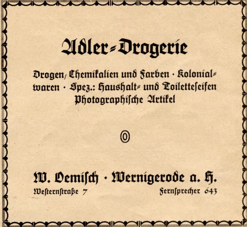 Anzeige Adler Drogerie W. Oemisch, Westernstraße 7, 1922