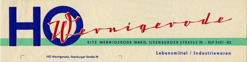 Briefkopf der HO Lebensmittel und Industriewaren, 1967