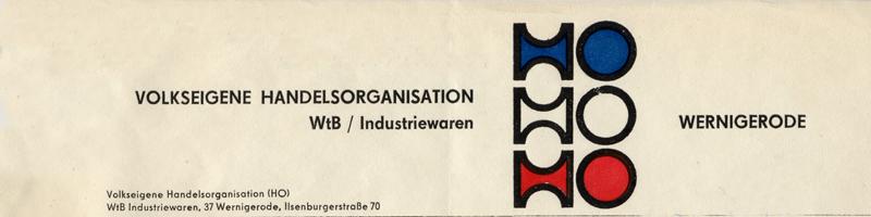 Briefkopf der HO Lebensmittel und Industriewaren, 1979