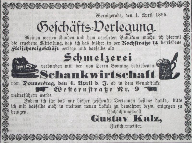 Anzeige Schmelzerei und Schankwirtschaft Gustav Kalz, 1895