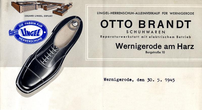 Briefkopf Otto Brandt, Schuhwaren, 1945