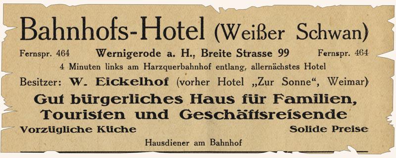 Bahnhofs-Hotel (Weißer Schwan), Anzeige 1926