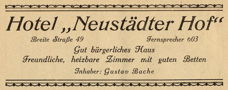 Anzeige Neustädter Hof,1926
