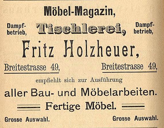 Anzeige Tischlerei Holzheuer, 1897