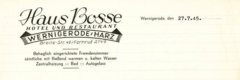 Briefkopf Haus Bosse, 1945