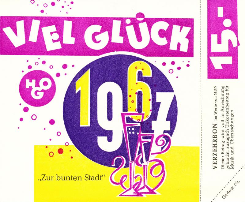 """Vorderseite einer Silvester-Klappkarte 1966, HOG """"Zur bunten Stadt"""""""
