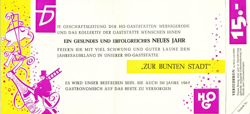 """Innenseite der Silvester-Klappkarte 1966, HOG """"Zur bunten Stadt"""""""