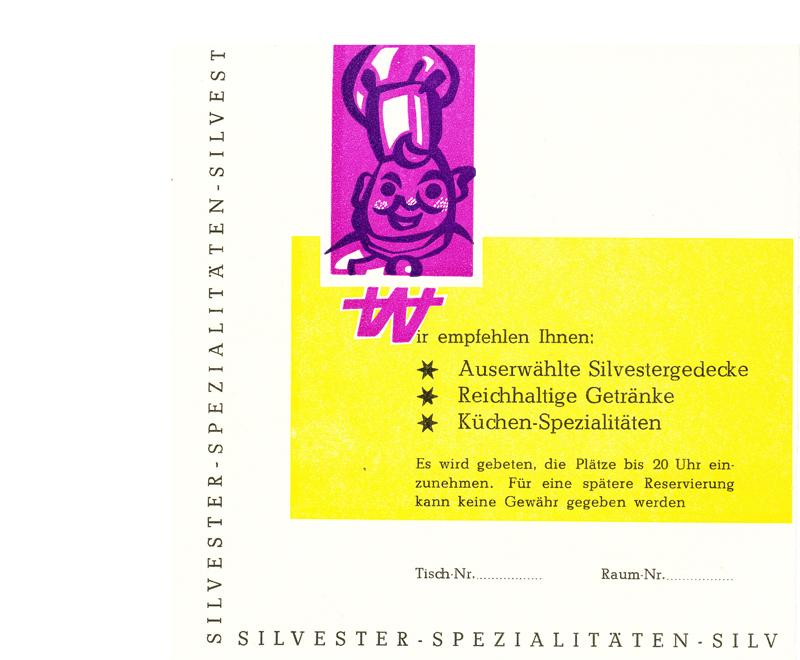"""Rückseite der Silvester-Klappkarte 1966, HOG """"Zur bunten Stadt"""""""
