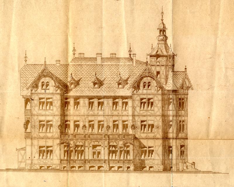 Bauzeichnung, Hotel Monopol, 1895 - Bauarchiv Stadtverwaltung