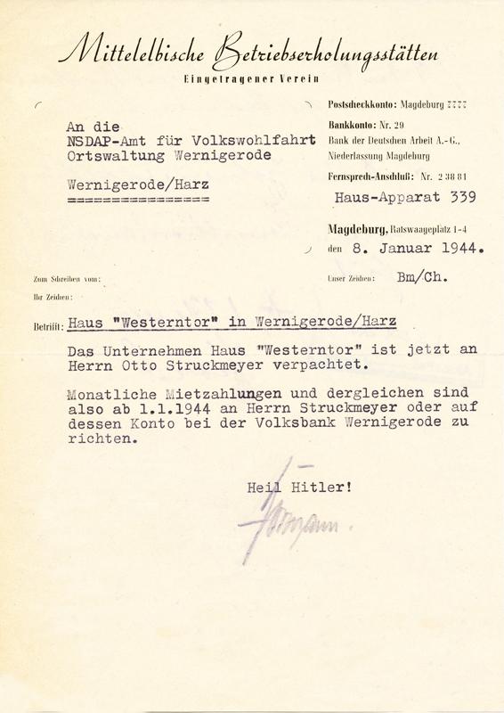 Brief der Mittelelbischen Betriebsstätten E.V., 1944