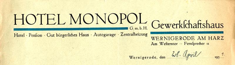 Briefkopf 1931