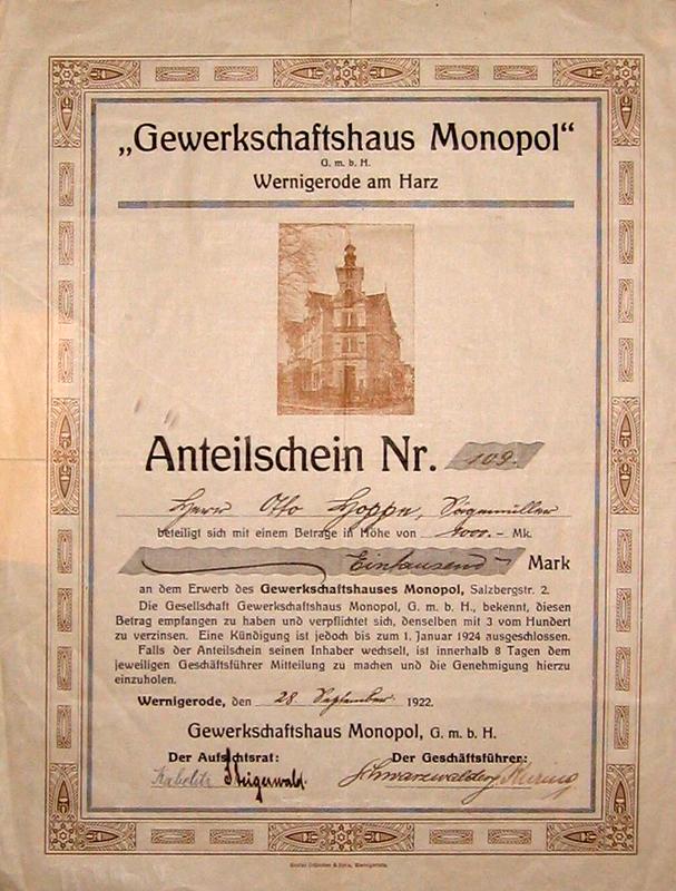 Anteilschein 1922