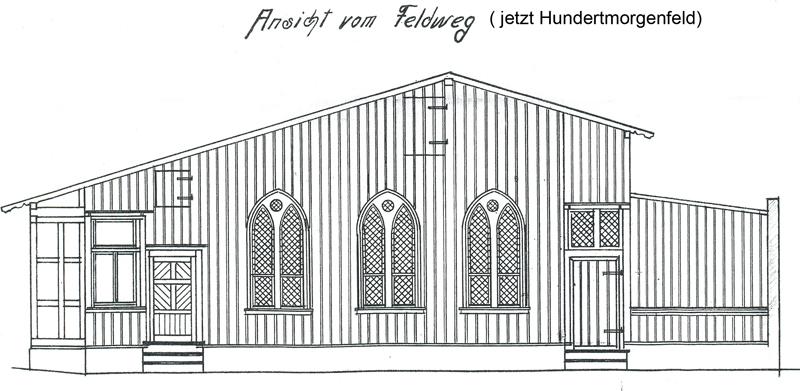 Ansicht vom Hundertmorgenfeld, Bauzeichnung 1908, Bauarchiv der Stadtverwaltung