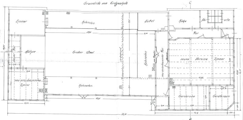 Grundriss Erdgeschoss, Bauzeichnung 1908, Bauarchiv der Stadtverwaltung