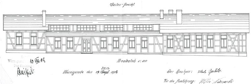 Seitenansicht, Bauzeichnung 1908, Bauarchiv der Stadtverwaltung