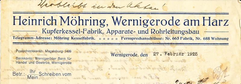 Briefkopf 1925, Feldstraße 55