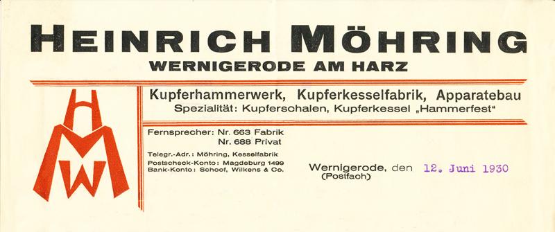 Briefkopf 1930, Feldstraße 55