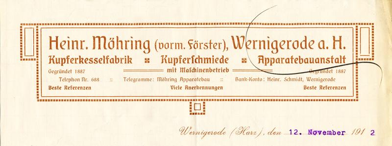 Briefkopf 1912, Schmatzfelder Straße 4