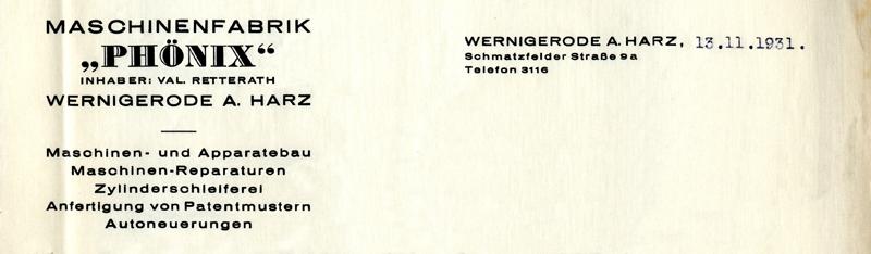 Briefkopf 1931, Schmatzfelder Straße 9a