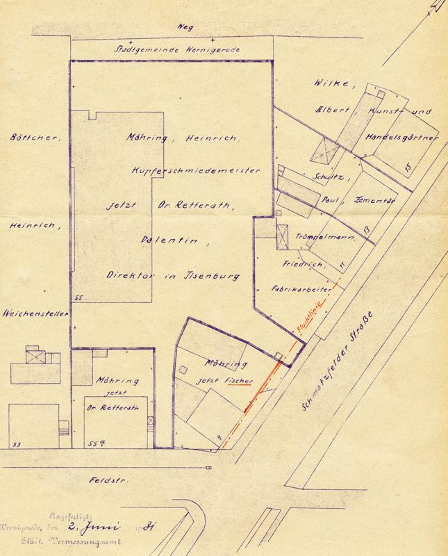 Lageplan 1931, Bauarchiv der Stadtverwaltung