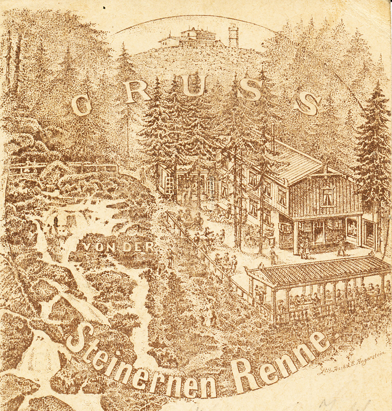 """erste Restauration an der """"Steinerne Renne"""", Ausschnitt eine Ansichtskarte vor 1898"""