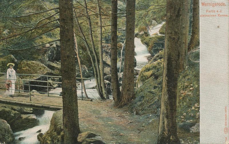 mittlere Brücke über die Steinerne Renne, Ansichtskarte um 1910