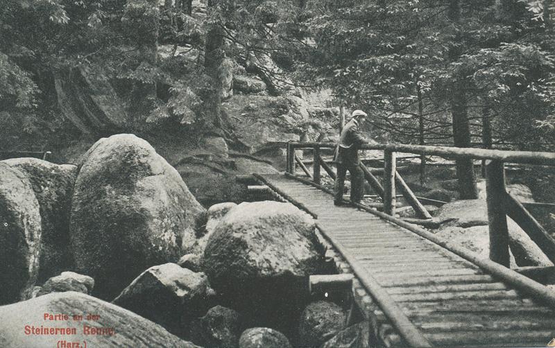 oberste Brücke über die Steinerne Renne, Ansichtskarte um 1910, Hofkunstanstalt Löffler & Co., Greiz