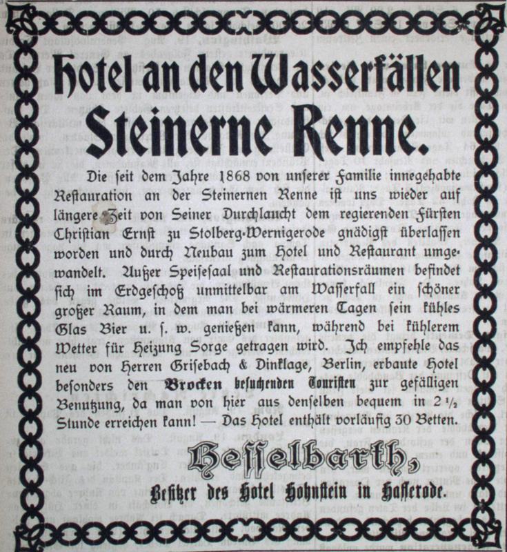 Anzeige Hotel an den Wasserfällen Steinerne Renne, 20. August 1898
