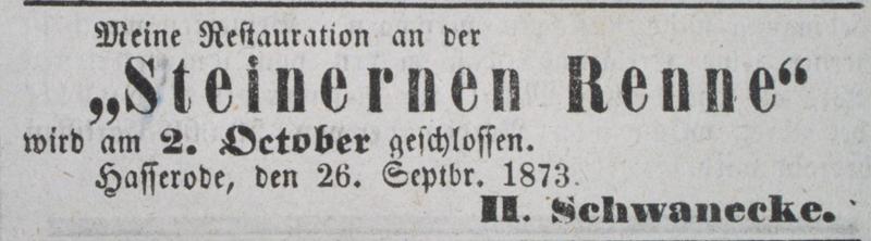 Anzeige zur jährlichen Schließung, 26. September 1873
