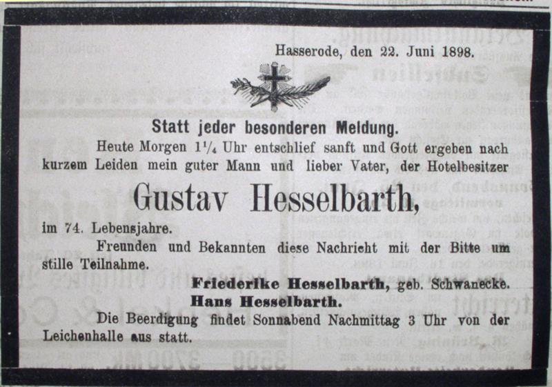 Todesanzeige Gustav Hesselbarth, 22. Juni 1898