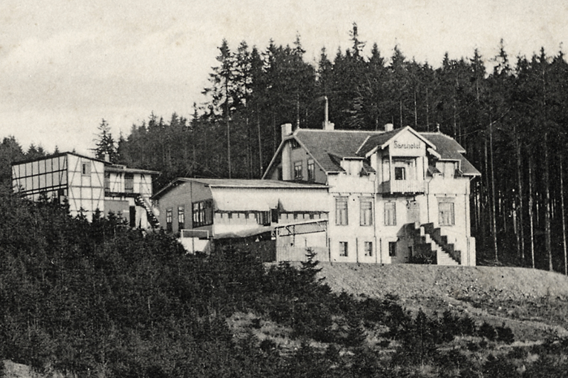 Berghotel Armeleuteberg, vor dem Band,  Ansichtskarte 1910