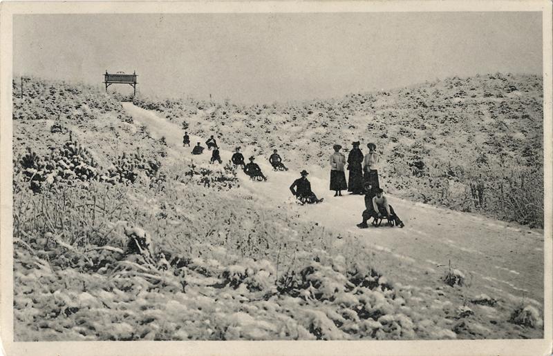 Rodelbahn vom Armeleuteberg in das Salzbergtal, Ansichtskarte um 1912, Stadtarchiv Wernigerode