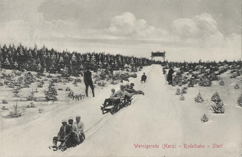 Rodelbahn vom Armeleuteberg in das Salzbergtal, Ansichtskarte um 1913, Stadtarchiv Wernigerode