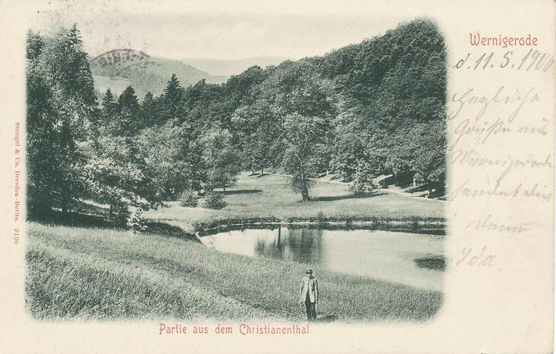 oberster Teich im Christianental, Ansichtskarte um 1900