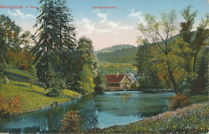 unterster Teich im Christianental, mit ehemaligem Forsthaus, Ansichtskarte um 1920