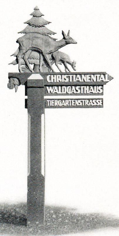Wegweiser der in den 30er Jahren in der Stadt Wernigerode stand, Bild aus dem Prospekt