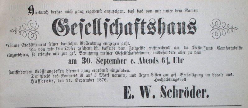 Anzeige 30.9.1876