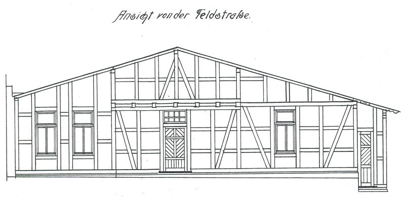 Ansicht von der Feldstraße, Bauzeichnung 1908, Bauarchiv der Stadtverwaltung