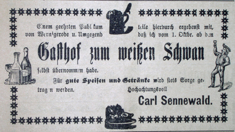 Gasthof zum weißen Schwan,<br /><br />Anzeige 3.Okt.1900